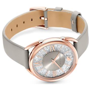 Crystalline Glam Uhr, Lederarmband, grau, Rosé vergoldetes PVD-Finish - Swarovski, 5452455