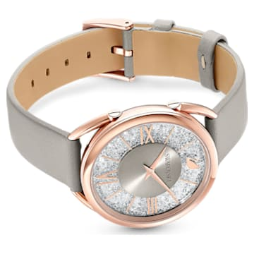 Crystalline Glam Watch, Leather strap, Grey, Rose-gold tone PVD - Swarovski, 5452455