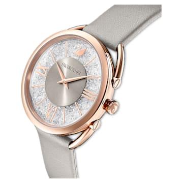 Crystalline Glam-horloge, Leren horlogebandje, Grijs, Roségoudkleurig PVD - Swarovski, 5452455