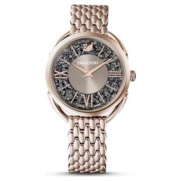Ceas Crystalline Glam, brățară de metal, gri, nuanță de culoarea șampaniei aplicată prin depunere fizică de vapori - Swarovski, 5452462