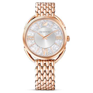 Crystalline Glam-horloge, Metalen armband, Wit, Roségoudkleurig PVD - Swarovski, 5452465