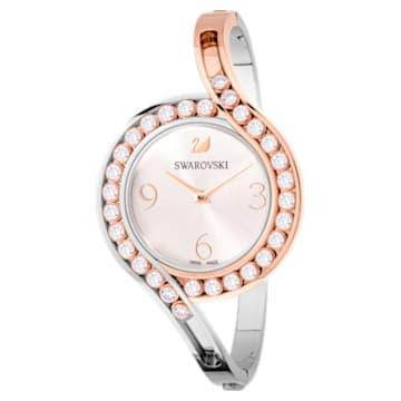Lovely Crystals Bangle Uhr, Metallarmband, weiss, Zweifarbiges PVD-Finish - Swarovski, 5452486