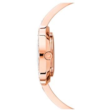 Orologio Lovely Crystals Bangle, Bracciale di metallo, bianco, PVD oro rosa - Swarovski, 5452489