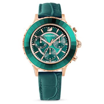 Octea Lux Chrono 腕表, 真皮表带, 绿色, 玫瑰金色调 PVD - Swarovski, 5452498