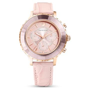 Octea Lux-chronograafhorloge, Leren horlogebandje, Roze, Roségoudkleurig PVD - Swarovski, 5452501