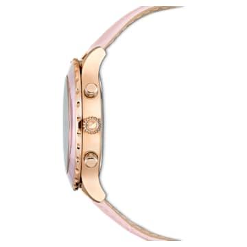 Montre Octea Lux Chrono, Bracelet en cuir, rose, PVD doré rose - Swarovski, 5452501