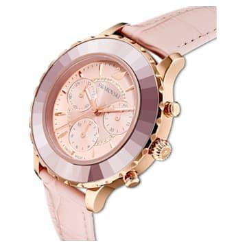 Hodinky s chronografem Octea Lux, kožený pásek, růžové, PVD v odstínu růžového zlata - Swarovski, 5452501