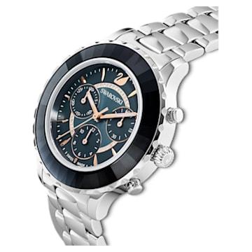 Octea Lux Chrono Watch, Metal bracelet, Dark grey, Stainless steel - Swarovski, 5452504