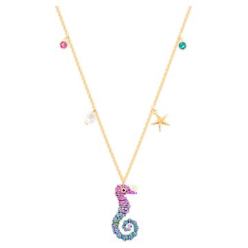 Ocean Seahorse Anhänger, mehrfarbig, vergoldet - Swarovski, 5452562