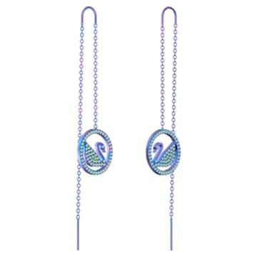 Pop Swan Pierced earrings, Purple, Lilac PVD coating - Swarovski, 5452619