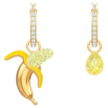 No Regrets Banana 穿孔耳環, 多色設計, 鍍金色色調 - Swarovski, 5453571
