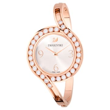 Lovely Crystals Bangle Uhr, Metallarmband, weiss, Rosé vergoldetes PVD-Finish - Swarovski, 5453648