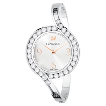 Reloj Lovely Crystals Bangle, Brazalete de metal, blanco, acero inoxidable - Swarovski, 5453655