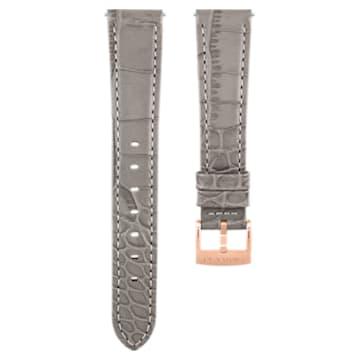 Correa de reloj 17mm, piel con costuras, gris topo, baño tono oro rosa - Swarovski, 5455156