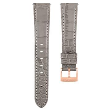 Cinturino per orologio 17mm, pelle con impunture, grigio talpa, placcato color oro rosa - Swarovski, 5455157