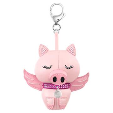 Bu Bu bag charm, Pig, Pink, Stainless steel - Swarovski, 5457470