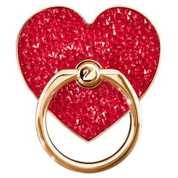 Przyklejana klamra Glam Rock, Serce, Czerwony, Powłoka w odcieniu różowego złota - Swarovski, 5457473