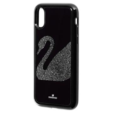 Étui pour smartphone Swan Fabric, Cygne, iPhone® X/XS , Noir - Swarovski, 5458420