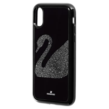Swan Fabric Smartphone case with integrated Bumper, iPhone® X/XS, Black - Swarovski, 5458420
