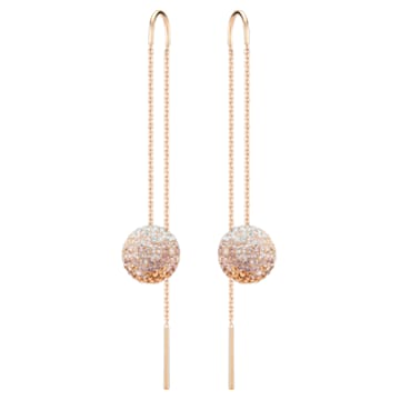 Fun Chain pierced earrings, Multicolored, Rose-gold tone plated - Swarovski, 5459257