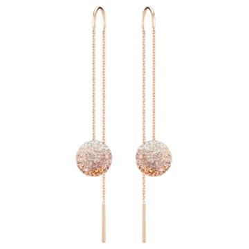 Fun Chain pierced earrings, Multicoloured, Rose-gold tone plated - Swarovski, 5459257