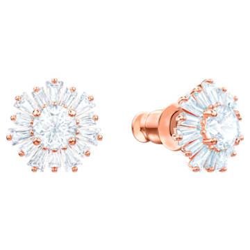 Τρυπητά σκουλαρίκια Sunshine, λευκά, επιχρυσωμένα σε χρυσή ροζ απόχρωση - Swarovski, 5459597