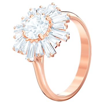 Sunshine ring, Sun, White, Rose gold-tone plated - Swarovski, 5459599