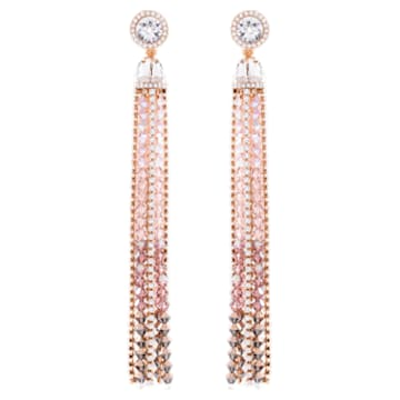 Ocean View Clip Earrings, Multi-colored, Rose-gold tone plated - Swarovski, 5459965