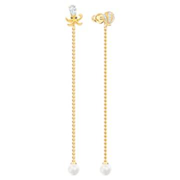 Ocean Octopus Pierced Earrings, Multi-colored, Mixed plating - Swarovski, 5462583