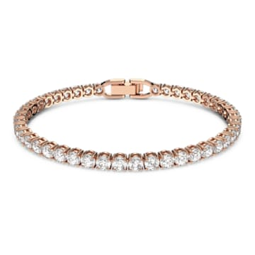 Bracelet Tennis Deluxe, Blanc, Métal doré rose - Swarovski, 5464948