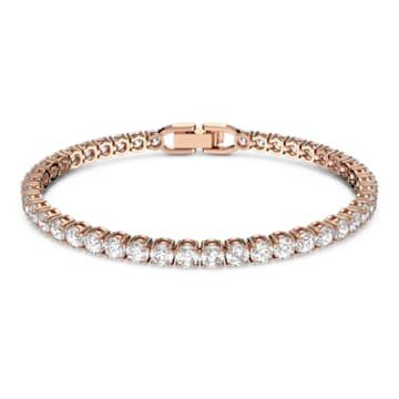 Náramek Tennis Deluxe, Bílý, pozlacený růžovým zlatem - Swarovski, 5464948