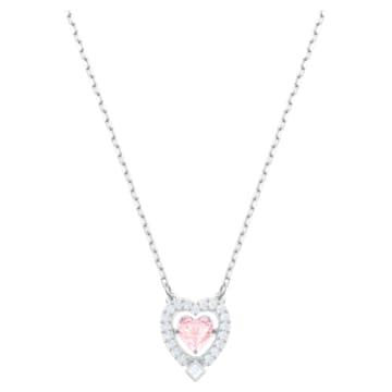 Swarovski Sparkling Dance Heart Колье, Розовый Кристалл, Родиевое покрытие - Swarovski, 5465284