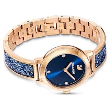 Cosmic Rock Watch, Metal bracelet, Blue, Rose-gold tone PVD - Swarovski, 5466209