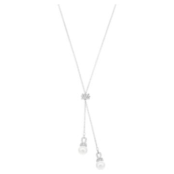 Originally Y Necklace, White, Rhodium plated - Swarovski, 5467313
