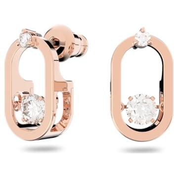 Τρυπητά σκουλαρίκια Sparkling Dance, λευκά, επιχρυσωμένα σε χρυσή ροζ απόχρωση - Swarovski, 5468118