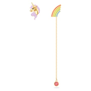Out of this world 穿孔耳環, 非對稱, 獨角獸和彩虹, 漸層色, 鍍金色色調 - Swarovski, 5468315