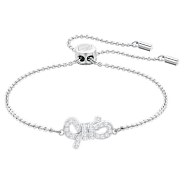Lifelong Bow Bracelet, White, Rhodium plated - Swarovski, 5469983