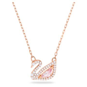 Dazzling Swan necklace, Swan, Pink, Rose gold-tone plated - Swarovski, 5469989