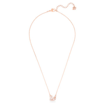 Dazzling Swan Necklace, Multi-coloured, Rose-gold tone plated - Swarovski, 5469989