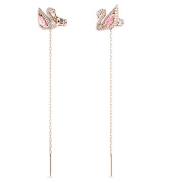 Τρυπητά σκουλαρίκια Dazzling Swan, πολύχρωμα, επιχρυσωμένα σε χρυσή ροζ απόχρωση - Swarovski, 5469990