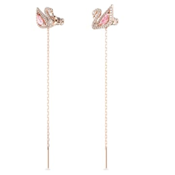 Dazzling Swan-steekoorbellen, Meerkleurig, Roségoudkleurige toplaag - Swarovski, 5469990