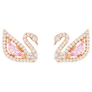 Vpichovací náušnice Dazzling Swan, Vícebarevné, Pokovené růžovým zlatem - Swarovski, 5469990