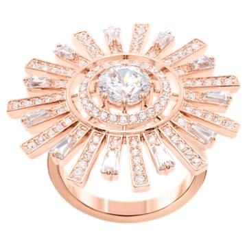 Sunshine Cocktail Ring, White, Rose-gold tone plated - Swarovski, 5470397