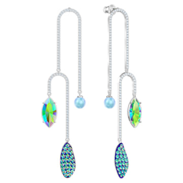 Organic Pierced Earrings, Multi-colored, Rhodium plated - Swarovski, 5470517