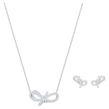 Lifelong Bow 套装, 白色, 镀铑 - Swarovski, 5470594