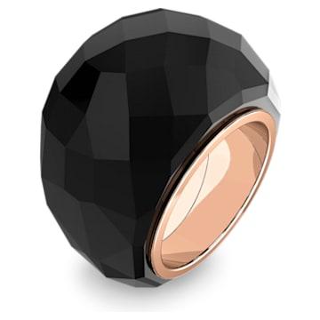 Δαχτυλίδι Swarovski Nirvana, μαύρο, PVD σε χρυσή ροζ απόχρωση - Swarovski, 5474369