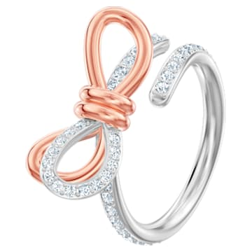 Anello Lifelong Bow, media, bianco, Mix di placcature - Swarovski, 5474931