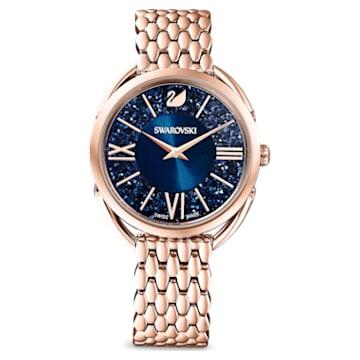 Ρολόι Crystalline Glam, μεταλλικό μπρασελέ, μπλε, PVD σε χρυσή ροζ απόχρωση - Swarovski, 5475784