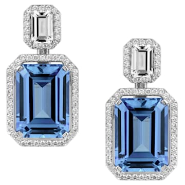 Ángel Earrings, Swarovski Created Sapphires, 18K White Gold - Swarovski, 5476756