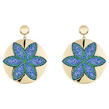 Boucles d'oreilles Evil Eye, bleu, métal doré - Swarovski, 5477551
